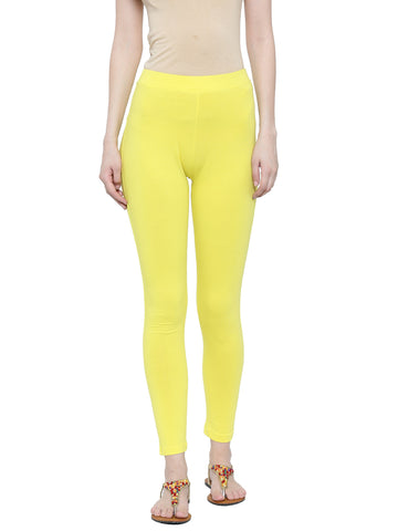 De Moza Ladies Leggings Ankle Length Cotton Lycra Lemon Yellow - De Moza
