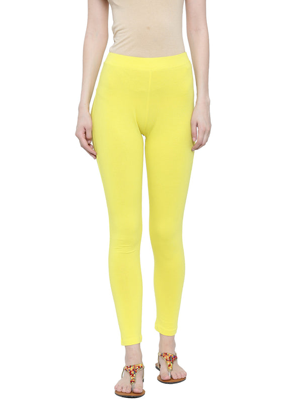 De Moza Ladies Ankle Length Leggings Lemon Yellow - De Moza