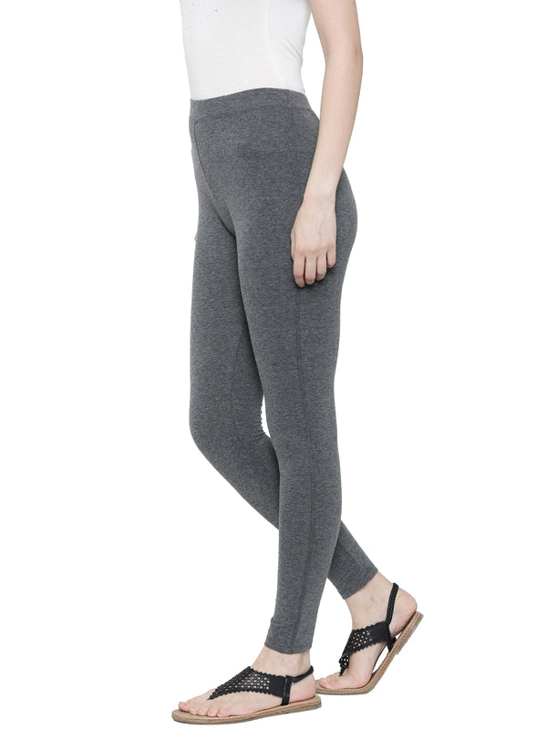 De Moza Ladies Ankle Length - Yoga Leggings Anthra Melange - De Moza