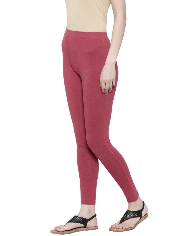 De Moza Ladies Ankle Length - Yoga Leggings Maroon Melange - De Moza