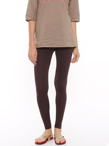 De Moza Women's Leggings Ankle Length Solid Cotton Lycra Brown - De Moza