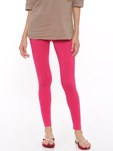 De Moza Women's Leggings Ankle Length Solid Cotton Lycra Fuchsia - De Moza