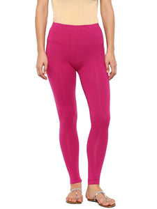 De Moza Women's Leggings Ankle Length Solid Cotton Lycra Onion - De Moza