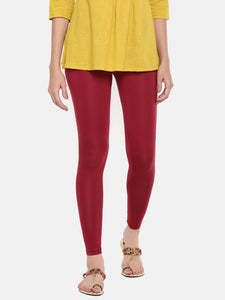 De Moza Ladies Ankle Length Leggings Modal Maroon - De Moza