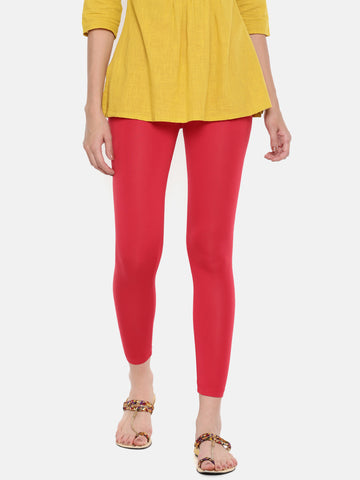 De Moza Ladies Ankle Length Leggings Modal Red - De Moza