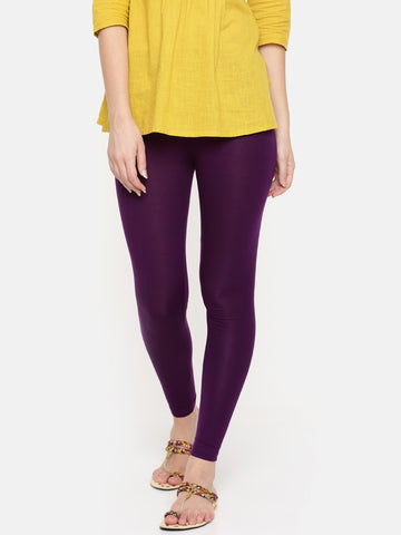 De Moza Ladies Ankle Length Leggings Modal Purple - De Moza