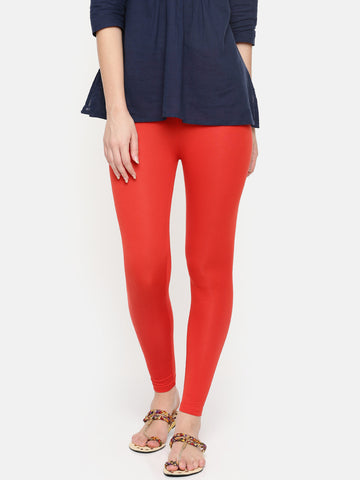 De Moza Ladies Ankle Length Leggings Modal Rust Orange - De Moza