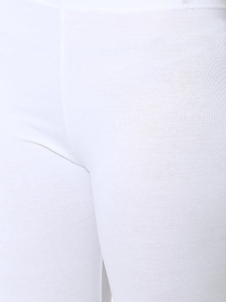 De Moza Women's Ankle Length Pack 3 Leggings Solid Cotton White Free Size - De Moza