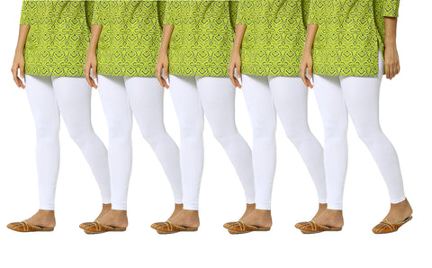 De Moza Women's Ankle Length Pack 5 Leggings Solid Cotton White Free Size - De Moza