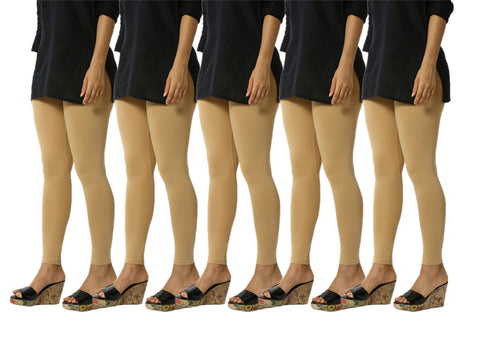 De Moza Women's Ankle Length Pack 5 Leggings Solid Cotton Skin Free Size - De Moza