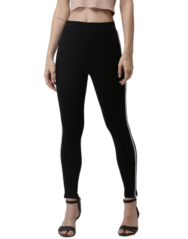De Moza- Silver Ankle Length Leggings
