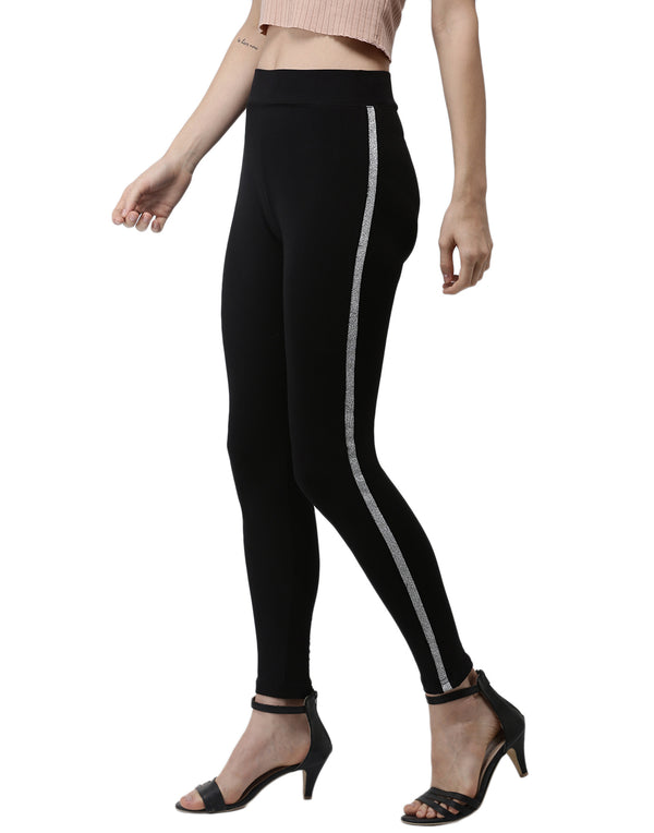 De Moza- Silver Ankle Length Leggings - De Moza