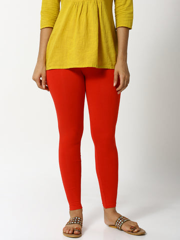 De Moza Women's Leggings Ankle Length Solid Cotton Lycra Red - De Moza