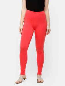 De Moza Women's Ankle Length Leggings Solid Cotton Coral - De Moza