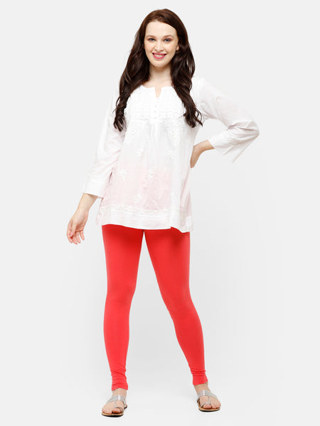 De Moza -Women's Coral Red Leggings Ankle Length