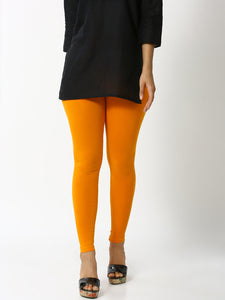 De Moza Women's Leggings Ankle Length Solid Cotton Lycra Dark  Yellow - De Moza