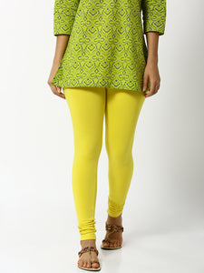 De Moza Women's Leggings Ankle Length Solid Cotton Lycra Lemon Yellow - De Moza