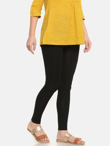 De Moza Women's Leggings Ankle Length Solid Viscose Black - De Moza