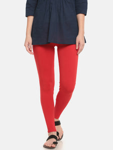 De Moza Women's Leggings Ankle Length Solid Viscose Red - De Moza