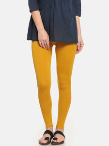 De Moza Women's Leggings Ankle Length Solid Viscose Mustard - De Moza