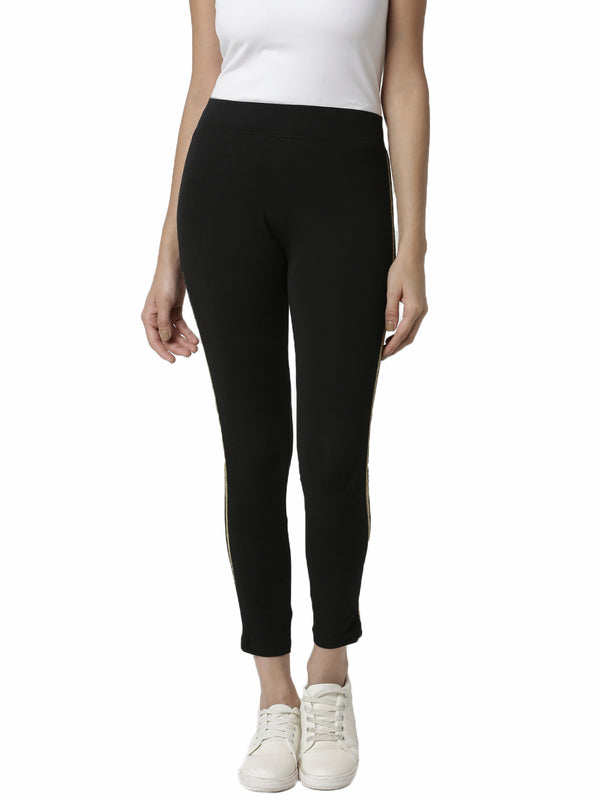 De Moza Ladies Gold Striped Side Leggings - De Moza