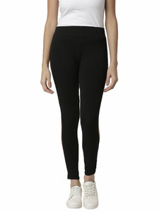 De Moza Ladies Copper gold Side Striped Leggings - De Moza