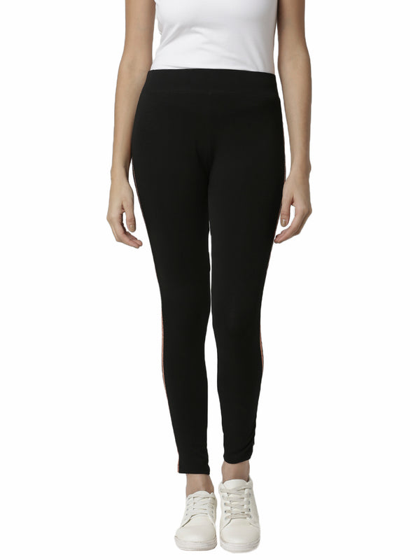 De Moza Ladies Copper gold Striped Side Leggings - De Moza