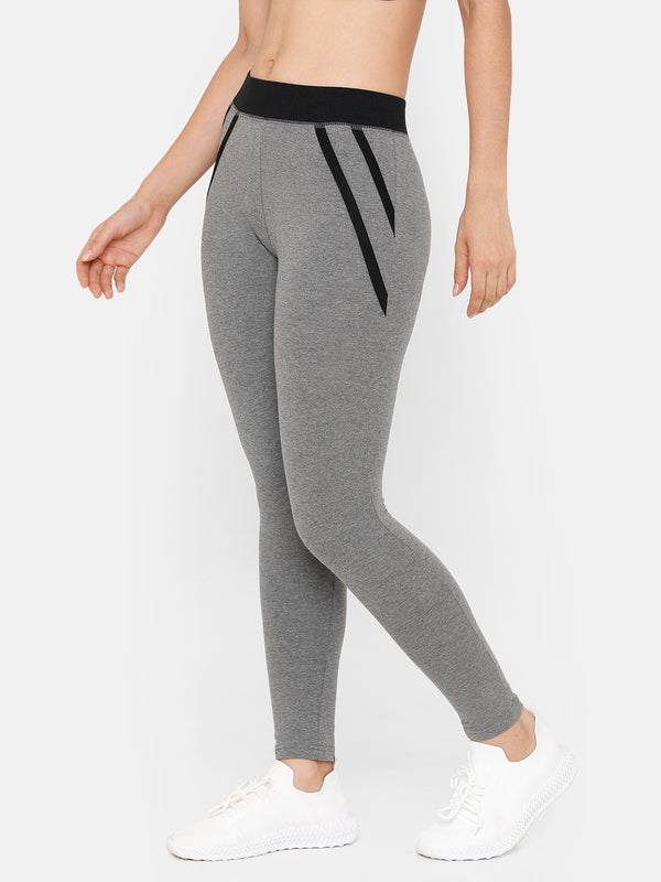 De Moza Women Sporty Ankle Length Leggings Solid Cotton Dark Grey Melange - De Moza
