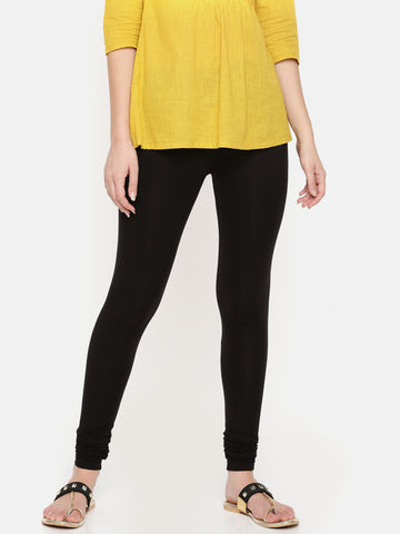 De Moza Ladies Chudidhar Leggings Solid Modal Black - De Moza