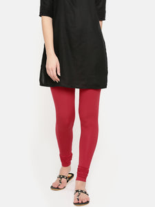 De Moza Ladies Chudidhar Leggings Solid Modal Red - De Moza