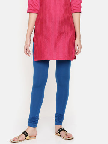 De Moza Ladies Chudidhar Leggings Solid Modal Deep Blue - De Moza