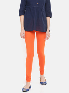 De Moza Women's Chudidhar Leggings Solid Cotton Lycra Orange - De Moza