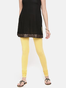 De Moza Women's Chudidhar Leggings Solid Cotton Lycra Yellow - De Moza