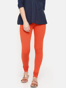 De Moza- Women's Orange Churidar Leggings