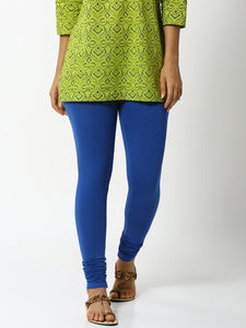 De Moza Women's Chudidhar Leggings Solid Cotton Ink Blue - De Moza