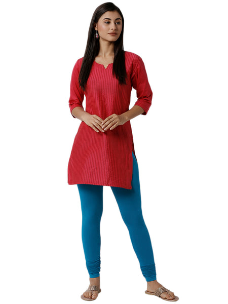 De Moza Women's Chudidhar Leggings Solid Viscose Teal - De Moza