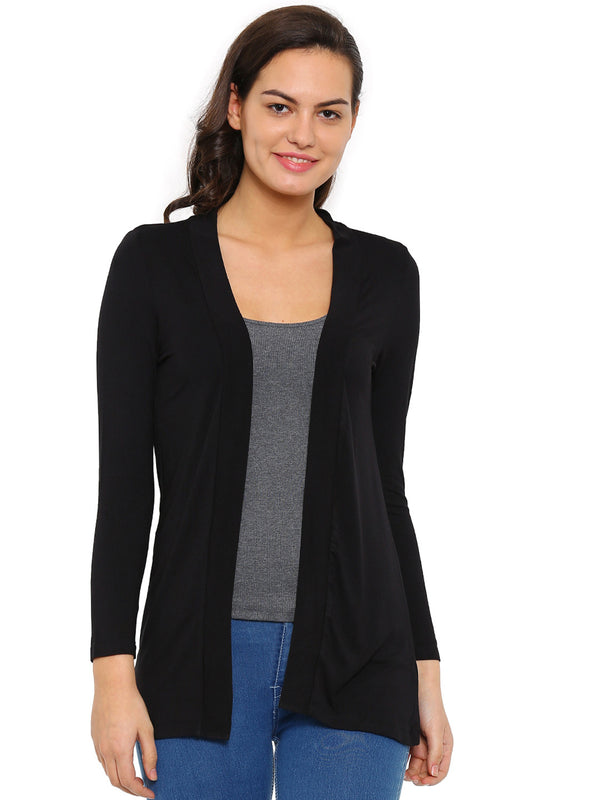 De Moza Ladies Shrug Long Length Viscose Solid Black