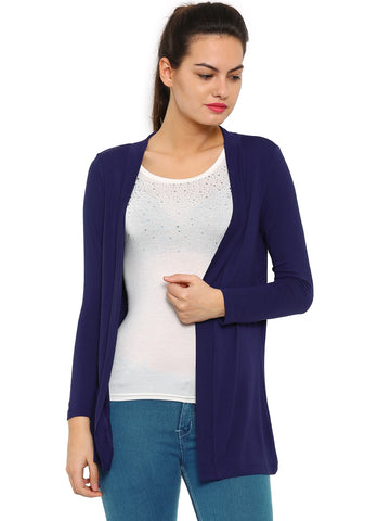 De Moza Ladies Shrug Long Length Viscose Solid Navy Blue