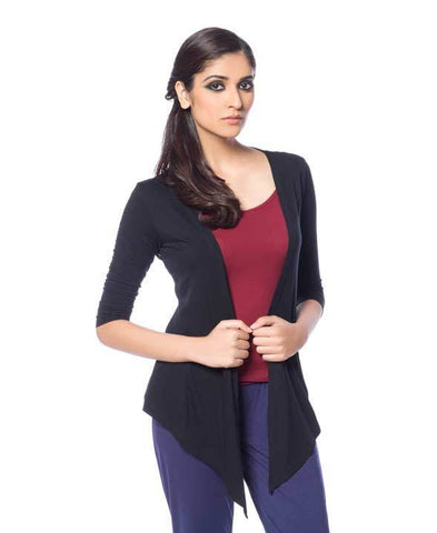 De Moza Ladies Shrug Regular Length Viscose Lycra Solid Black