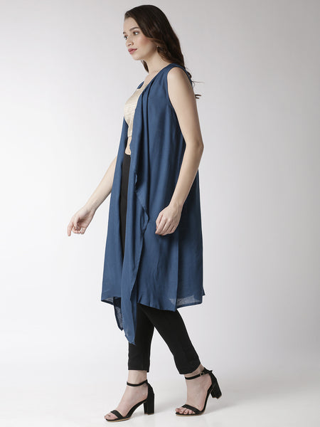 De Moza Women's Sleeveless Shrug Solid Rayon Indigo Blue - De Moza