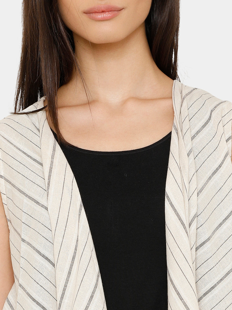 De Moza women's Sleeveless Shrug Yarn Dyed Cotton Offwhite - De Moza