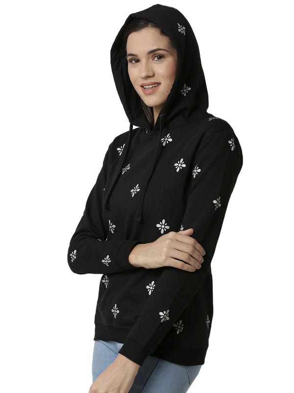 De Moza Ladies Black Printed Sweat shirt - De Moza