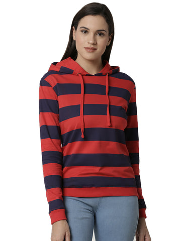 De Moza Ladies Printed Red Sweat shirt - De Moza
