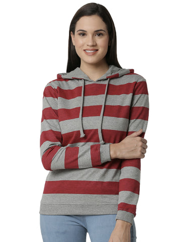 De Moza Ladies Printed Grey Melange Sweat shirt - De Moza