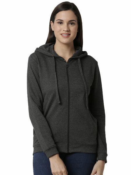 De Moza Ladies Anthra Melange Sweat shirt - De Moza