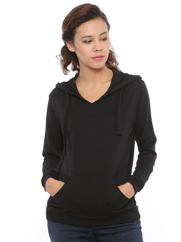 De Moza Women's Hooded Sweat Shirt Solid Cotton Black - De Moza
