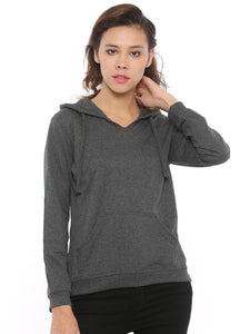 De Moza Women's Hooded Sweat Shirt Solid Cotton Melange Anthra Melange - De Moza