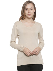 De Moza Women's Sweater Round Neck Full Sleeve Solid Cotton Beige - De Moza