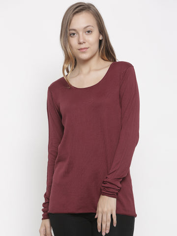 De Moza Women's Sweater Round Neck Full Sleeve Solid Cotton Wine - De Moza
