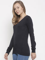 De Moza Women's Sweater V-Neck Full Sleeve Solid Cotton Navy Blue - De Moza